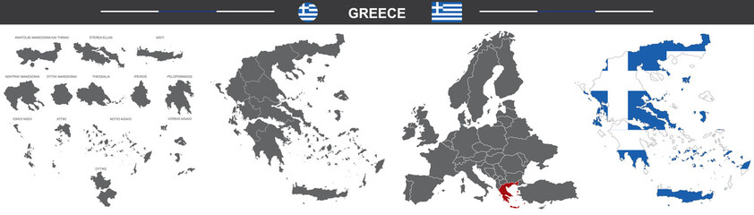 vector political map of Greece on white background Fototapete