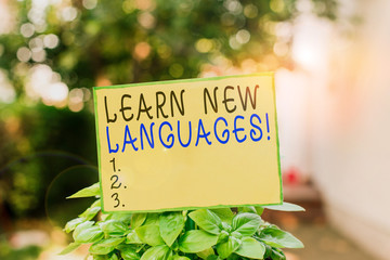 Writing note showing Learn New Languages. Business concept for developing ability to communicate in...