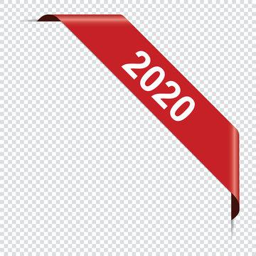 2020 new year - red corner ribbon banner