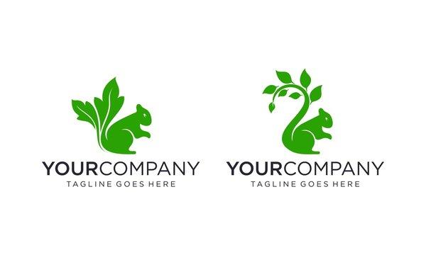 Natural squirrel logo design concept on white background