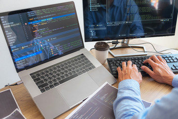 Programmers working in programming Programmer, developer and coding technology Website design, cybersecurity in the cyberspace society