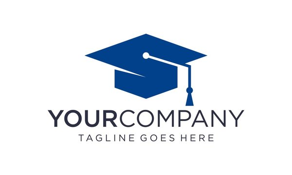 Creative graduation cap logo design concept on white background
