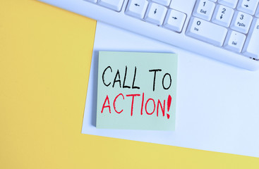 Word writing text Call To Action. Business photo showcasing exhortation do something in order achieve aim with problem Empty blank paper with copy space and pc keyboard above orange background table