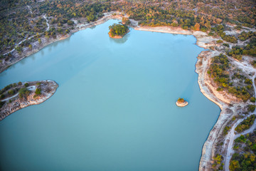 Poster Groen blauw This unique photo shows the islands and structure of a reservoir in Hua Hin Thailand from above. The picture was taken with a drone.