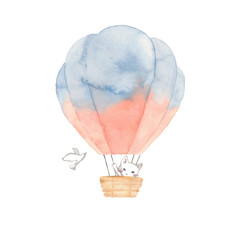 気球と白猫と白い鳥
