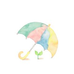 可愛い傘と小さな芽