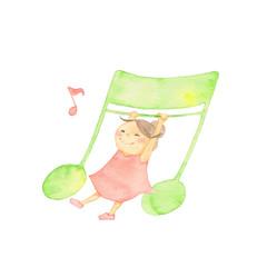 音符と戯れる女の子