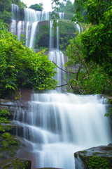 Poster de jardin Cascades waterfall in forest