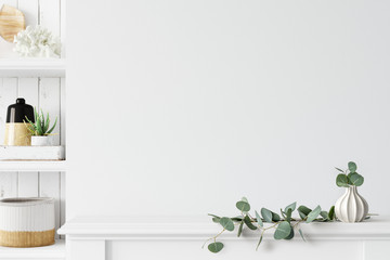 Wall mockup. Coastal Scandinavian interior style. 3d rendering, 3d illustration