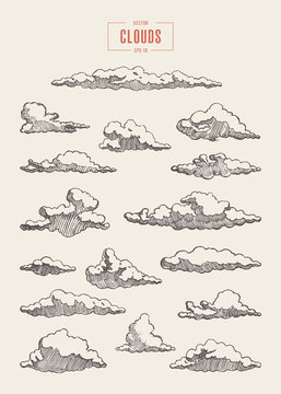 Set engraved style clouds drawn vector sketch