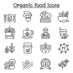 Organic food icon set in thin line style