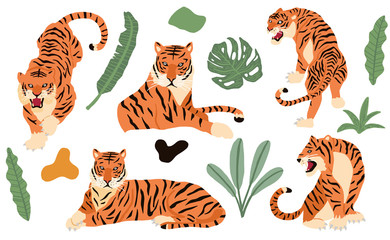 Cute animal object collection with leopard,tiger. illustration for icon,logo,sticker,printable Fotobehang