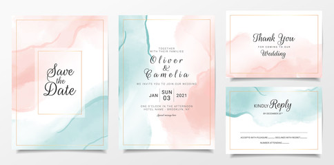 Fototapeta Peach and blue watercolor wedding invitation card template set with gold line decoration. Abstract background save the date, invitation, greeting card, multi-purpose vector obraz