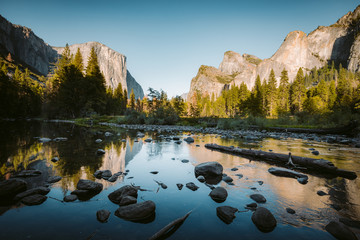 Wall Mural - Yosemite National Park at sunset in summer, California, USA