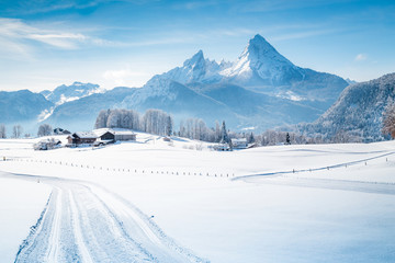 Wall Mural - Winter wonderland scenery in the Alps