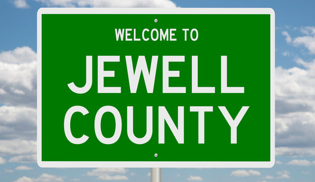 Rendering of a green 3d highway sign for Jewell County