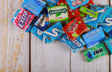Various brand chewing gum brands Orbit, Extra, Eclipse, Freedent, Wrigley, Spearmint, Tident, StrideStride lot of chewing gum packages