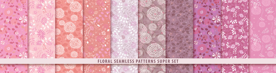 Obraz Floral seamless red pattern set. Flowers and leaves.. Color vector background. Summer and spring print - fototapety do salonu