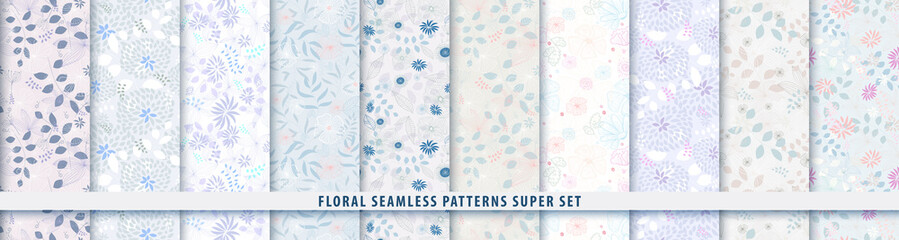 Floral seamless blue pattern bundle set. Flowers and leaves.. Color vector background. Summer and spring print Fototapete