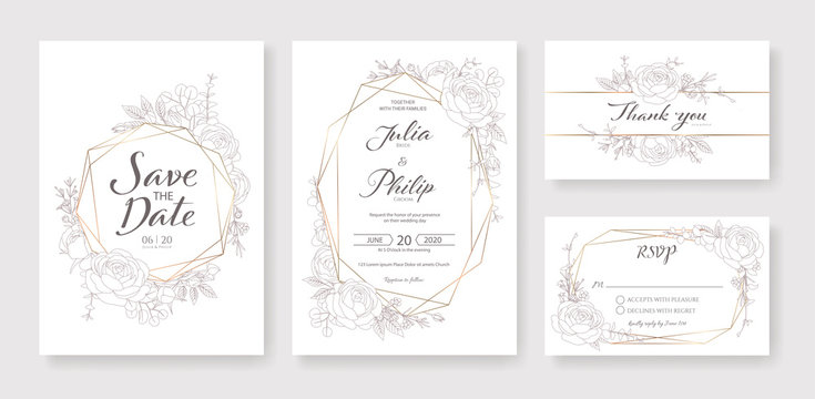 Wedding Invitation, save the date, thank you, rsvp card Design template. Vector. Rose, silver dollar, Wax flower.