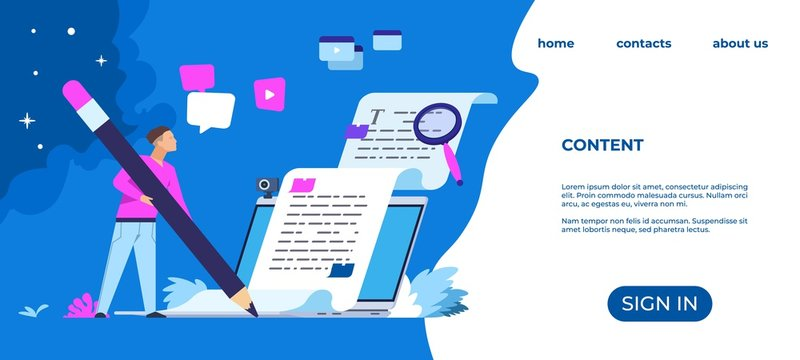 Content writer landing page. Blog articles and media creation concept, online freelance journalist. Vector web page freelancer copying publishing creative writing
