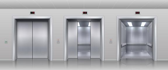 Realistic elevators. Closed open and half closed metallic cabin doors of passenger and cargo lift or indicator. Vector interior with metal doors, steel open and closing lifts in corridor
