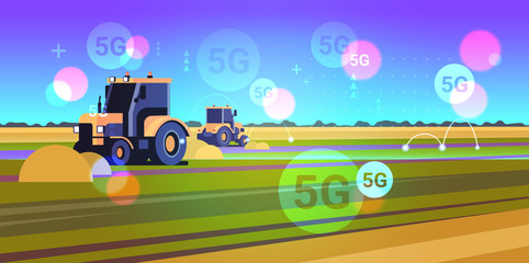 tractor plowing land 5G online wireless system connection heavy machinery working in field smart farming concept landscape background flat horizontal vector illustration Fotomurales