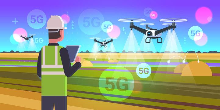 farmer using drone sprayer 5G online wireless system connection fifth innovative internet generation smart farming concept landscape background flat horizontal portrait vector illustration