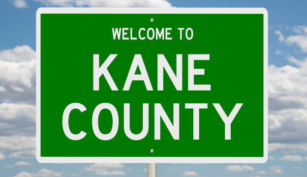Rendering of a green 3d highway sign for Kane County