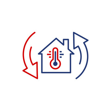 Thermometer home icon in flat style. House climate control vector illustration on white isolated background. Hot, cold temperature business concept.