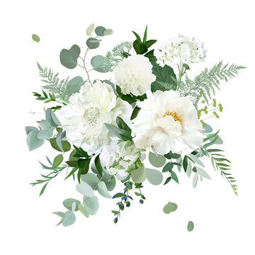 Silver sage green and white flowers vector design spring herbal bouquet
