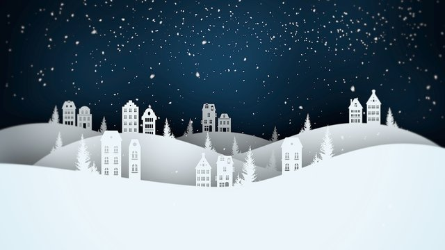 Night village and snowing landscape