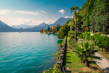 Wall Mural - Lake Como with charming villas and stunning gardens, Varenna, Italy