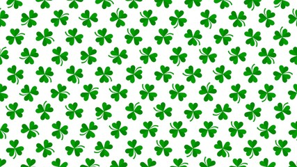 Green shamrocks on shine background, Saint Patrick Day holiday