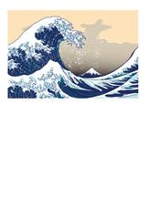 ポストカード 葉書 日本 波 はがきテンプレート