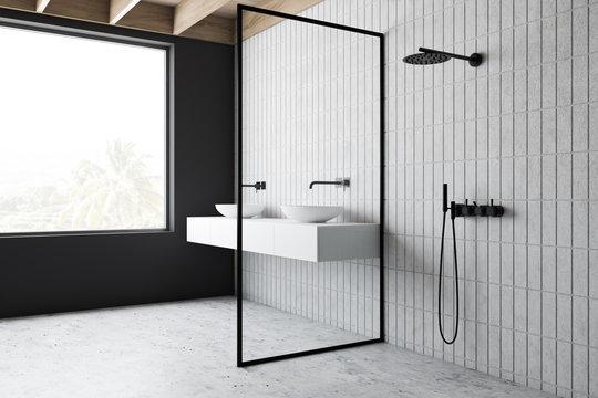 Loft bathroom corner with sink and shower