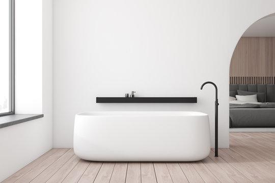 White bathroom and bedroom interior