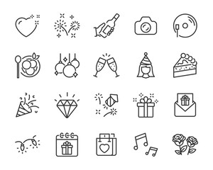 set of celebration icons, party, birthday, event, new year