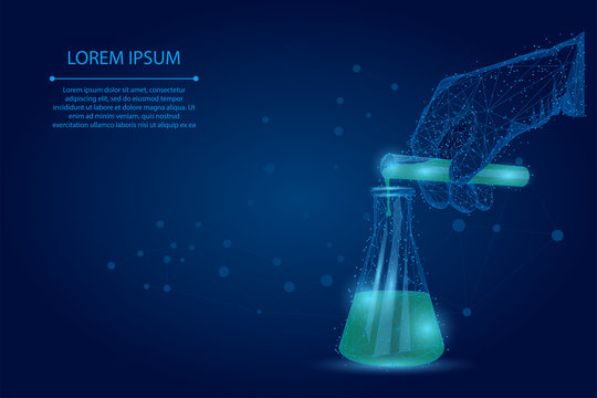 Abstract mash line and point medical laboratory analysis. Medicine low poly wireframe banner template. Polygonal scientist hand pours liquid from test tube into flask. Lab testing vector illustration.