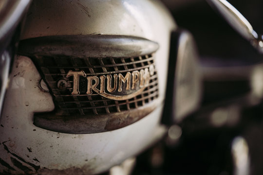 Bangkok, Thailand - April 7, 2019 : Close up Triumph logo brand in motorcycle photos at vintage motorcycle bike in Bangkok, Thailand. triumph motorcycle.Vintage tone.