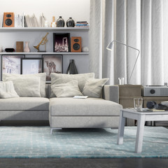 Contemporary and comfortable (detail) - 3d visualization of an apartment