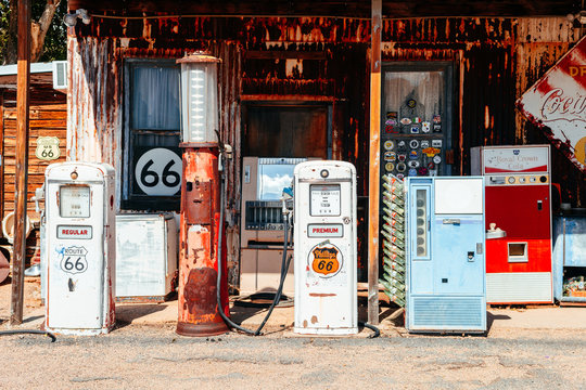 HACKBERRY, ARIZONA. 28th August, 2017: famous hackberry general store at the edge of the route 66 road