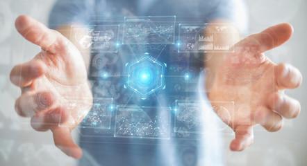 Deurstickers Londen Businessman using digital technological interface with datas 3D rendering
