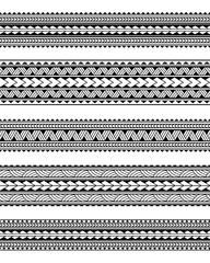 Set of maori polynesian tattoo bracelets border. Tribal sleeve seamless pattern vector. Samoan bracelet tattoo design fore arm or foot.