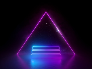 3d abstract neon background, night starry sky dreaming metaphor, triangular pyramid and steps, virtual universe, blank frame, ultraviolet spectrum, glowing pink blue light, cosmic space