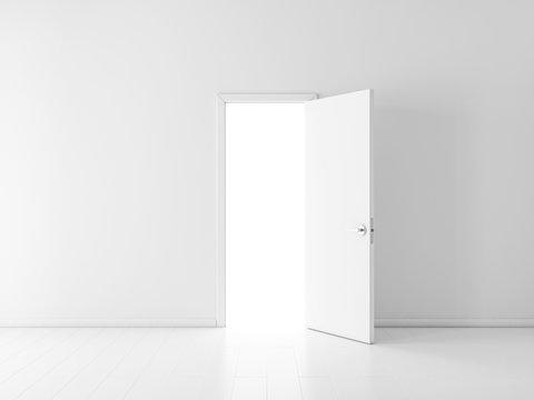 Open white door in empty room