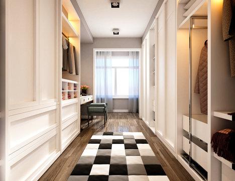 3d render of luxury home wardrobe