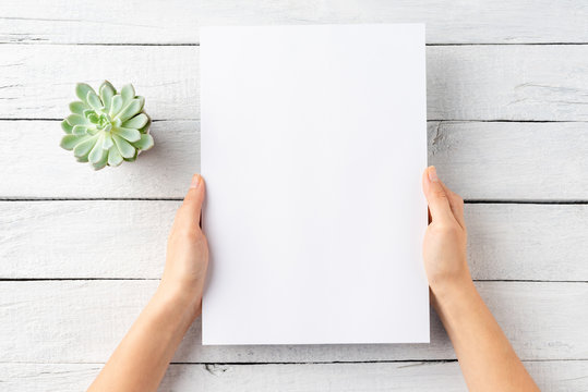 Overhead shot of female hands holding empty paper sheet on white wooden background with small flower