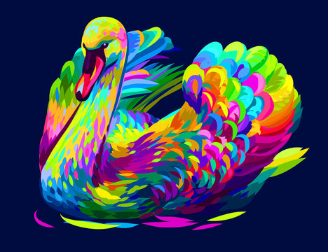 The swan is swimming. Abstract, artistic, multi-colored image of a swan on a dark  blue background in pop art style.