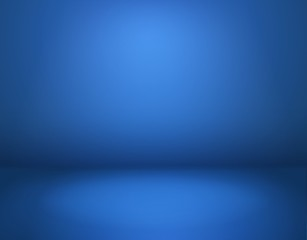 Blue studio background. Empty blue room in perspective, modern workshop with space. Advertisement interior, website wallpaper vector mockup